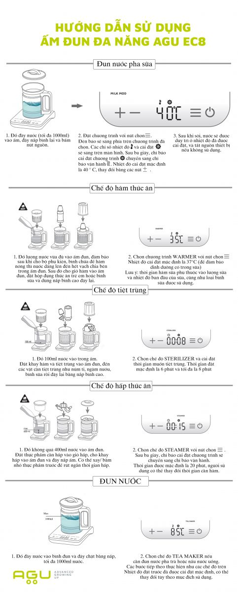 Ấm đun nước đa năng AGU EC8